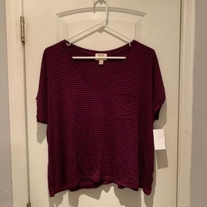Project Social T Tops - NEW Project Social T Striped V-Neck Pocket Tee